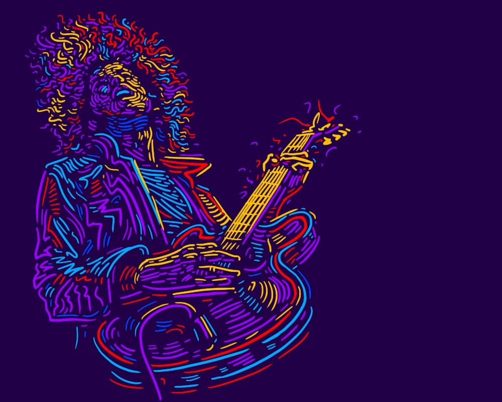 Drawing-of-man-playing-music-on-a-guitar